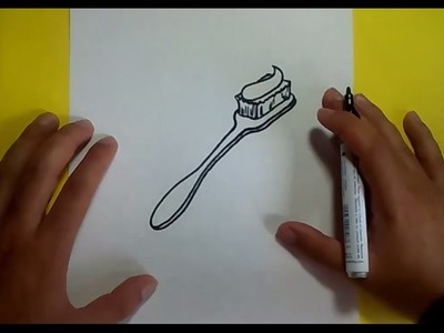 Como dibujar un cepillo de dientes paso a paso | How to draw a toothbrush