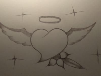 Como dibujar un corazon con alas profesinalmente con un solo lapiz