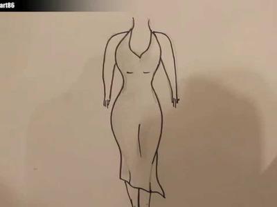 Como dibujar un vestido paso a paso
