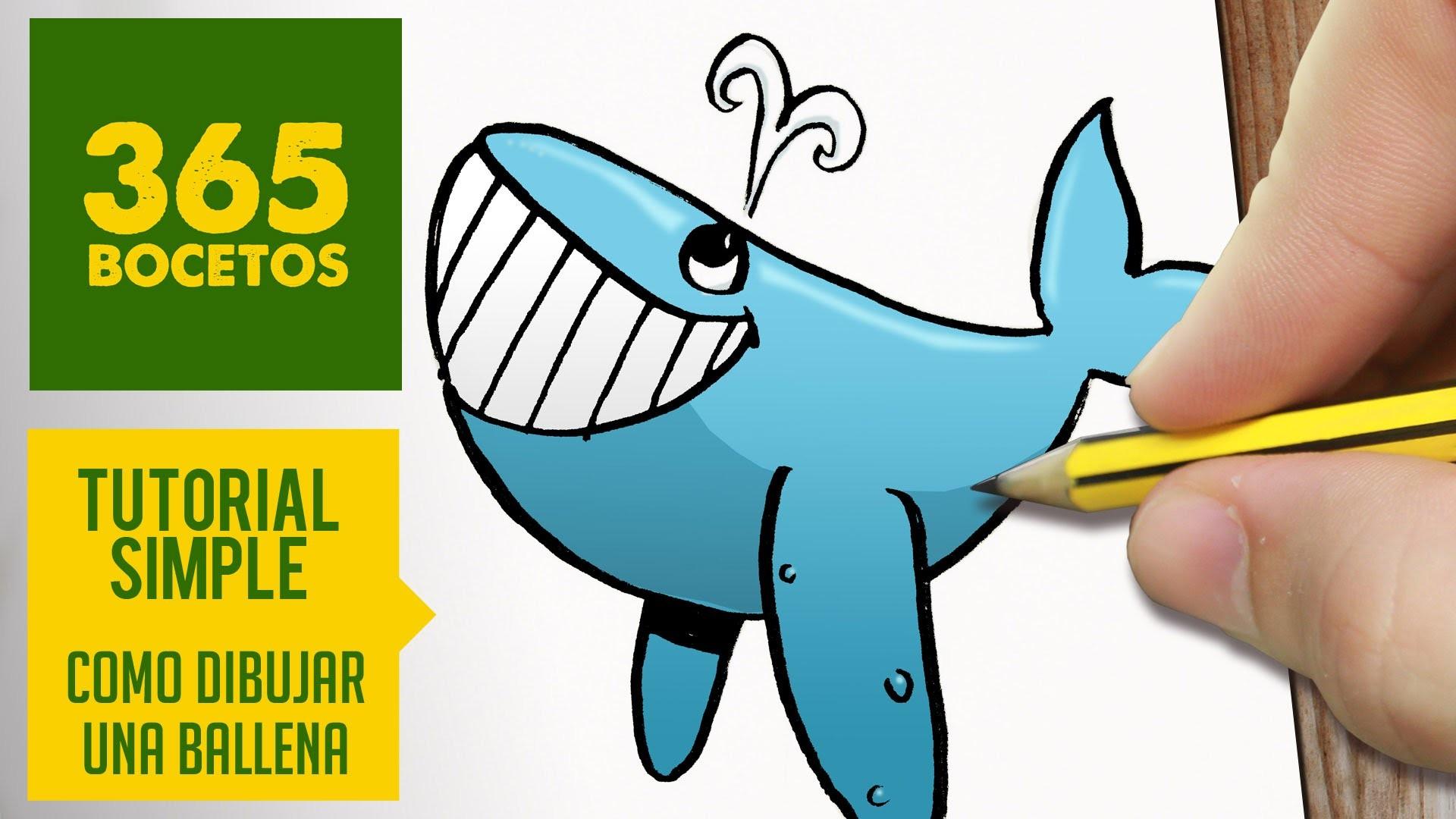 COMO DIBUJAR UNA BALLENA  FACIL PASO A PASO KAWAII: Aprender a dibujar para niños y mayores