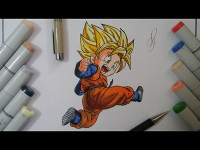 DIBUJANDO A GOTEN SSJ HOW TO DRAW GOTEN SUPER SAIYAN DRAGON BALL DIBUJO A LAPIZ DRAWING 図 孫悟天