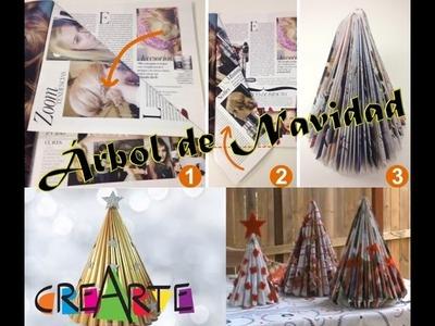 Cómo hacer Árbol de Navidad con revista o papel periódico | CREARTE