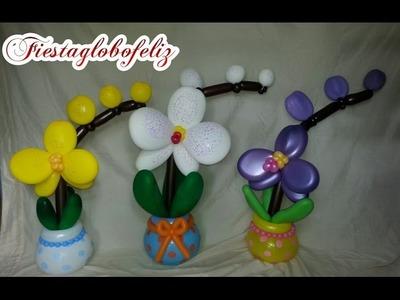 Orquídea con globos paso a paso