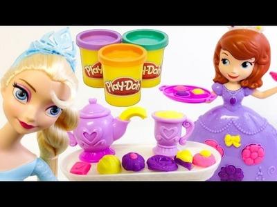 PLAY DOH juguetes de la Princesa Sofia en ESPAÑOL,plastilina(juego del te)