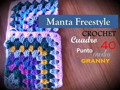 PUNTO MEDIO GRANNY a crochet - cuadro 40 manta FREESTYLE (diestro)