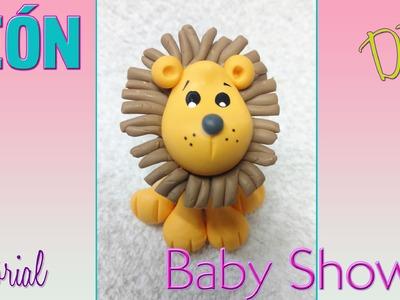 Recuerdo baby shower leon en porcelana fria
