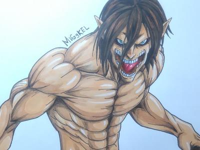 Como dibujar a EREN TITAN (attack on titan). How to draw TITAN EREN (shingeki no kyojin)