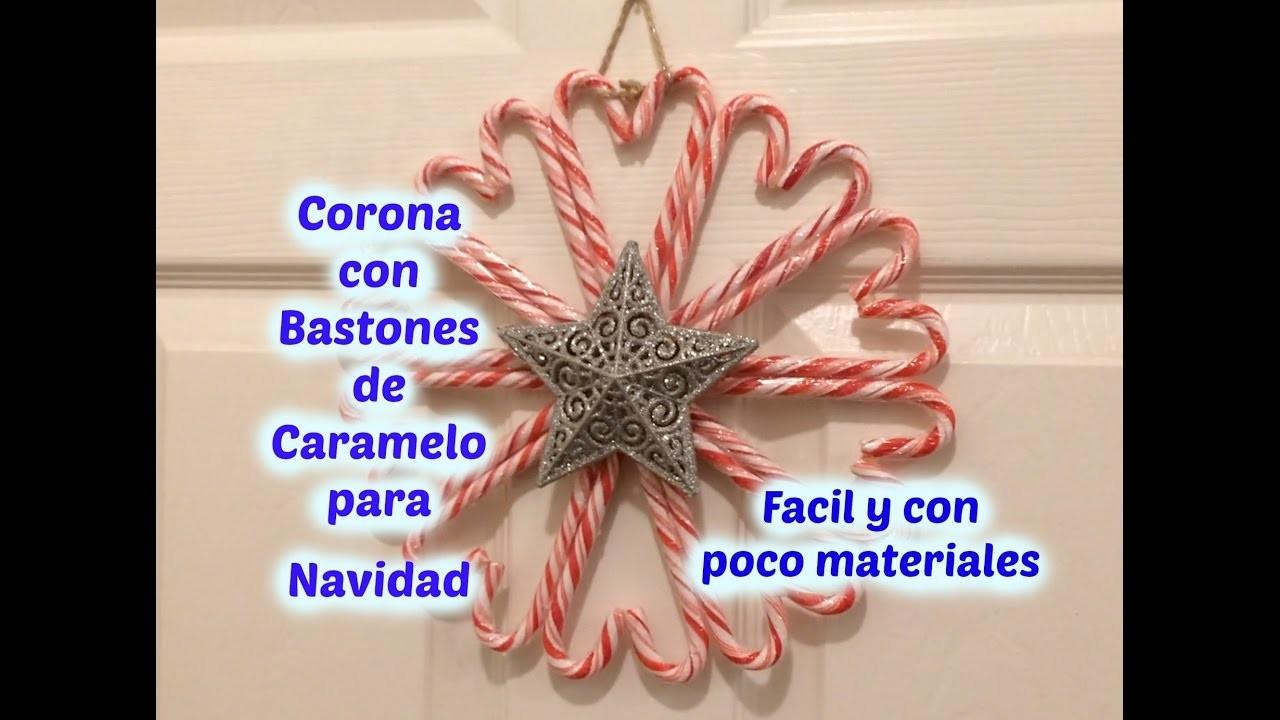 Corona para Navidad con Bastones de Caramelo - DIY fácil