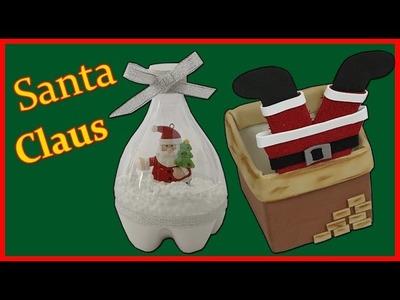 Decoracion de navidad Santa Claus  - botellas de plastico -  Chimenea