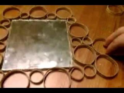 Decorar espejo con rollos de papel