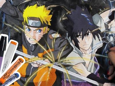Naruto vs Sasuke | Dibujo combinando técnicas! (Plumones, Acuarelas & Pasteles) | Diana Díaz