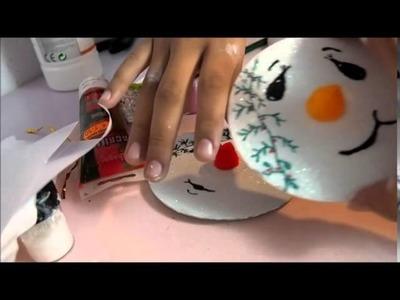 Ornamento de navidad snowmen y olaf hechos con cds reciclados