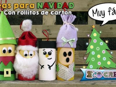 Adornos de navidad con rollitos de cartón