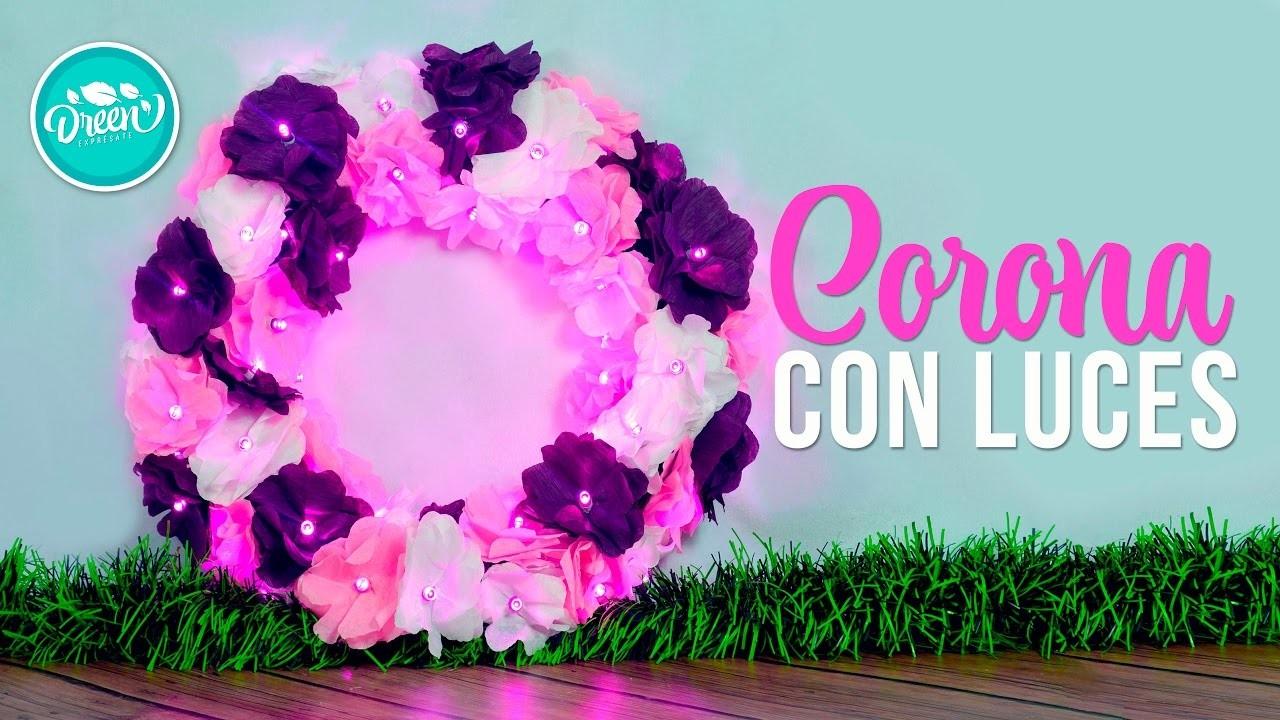 DIY Corona navideña con flores y luces | DREEN