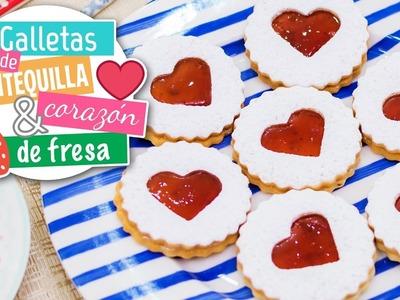 Galletas de mantequilla con corazón de fresa | Recetas navideñas | Quiero Cupcakes!