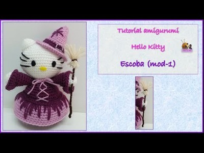 Tutorial amigurumi Hello Kitty - Escoba (mod-1)