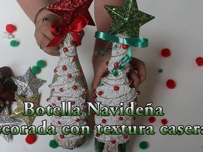 Botella navideña, decorada con textura casera!