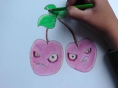 Como dibujar a Petacereza (Plantas vs Zombies) - How to draw a Petacereza