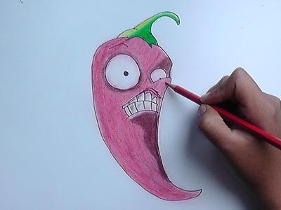 Dibujando a Jalapeño (plants vs zombies) - Drawing a Jalapeño