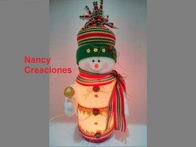 Muñeco de Nieve Lampara - Nancy Creaciones