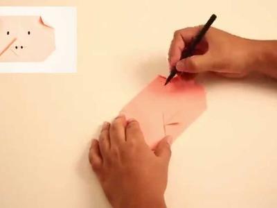 Como hacer un Cerdito de Papel - ANIMALES DE PAPEL - Cerdito de Origami