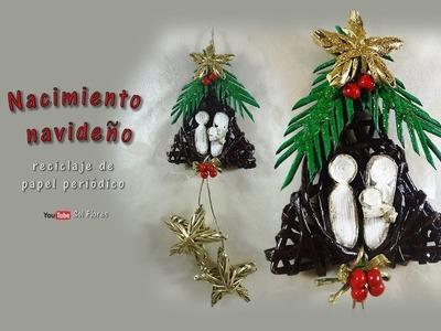 Nacimiento navideño, reciclaje de papel periódico  – Christmas birth, recycling of newsprint