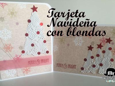 Tarjeta de Navidad con blondas fácil y simple