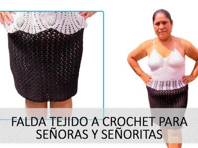 Falda tejido a crochet para señoras ó señoritas (fácil y rápido)