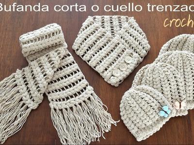 Bufanda corta o cuello trenzado tejido a crochet (a juego con los gorros!)