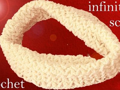Bufanda infinita tejida a crochet o ganchillo en punto relieve