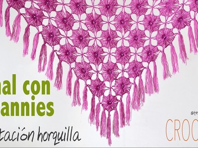Chal (shawl) de granny imitación horquilla tejido a crochet con lana angora!