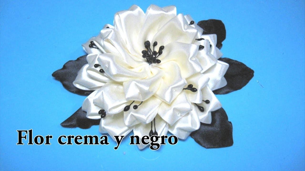 #DIY -Flor en crema y negro#DIY -Flower cream and black
