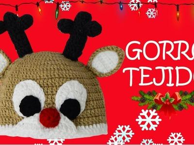 Gorro de Reno tejido a crochet |  paso a paso