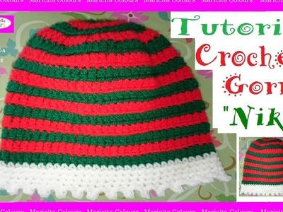 """Gorro Navideño a Crochet """"Niko"""" por Maricita Colours Tutorial"""