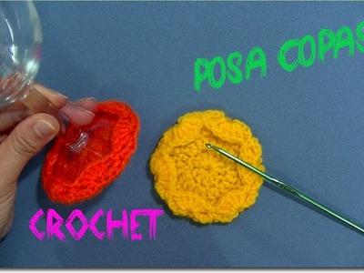 Posa Copas en tejido crochet para NAVIDAD tutorial paso a paso