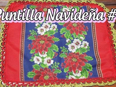 Puntilla navideña #1 - Christmas crochet edging lace