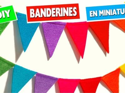 CÓMO HACER BANDERINES DE PAPEL EN MINIATURA - Manualidades para muñecas