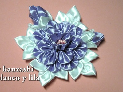 #Diy - Flor kanzashi en blanco y lila#Diy - Flower kanzashi in white and lilac