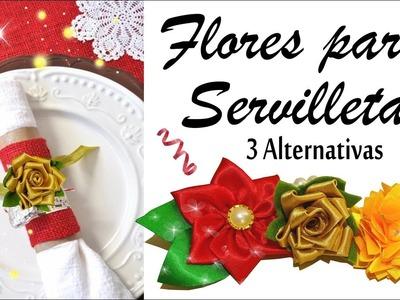 Flores de tela para tus Servilletas - DIY de Navidad 3 Alternativas