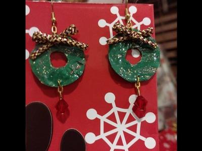 NAVIDAD DIY aretes navidenos con botella de plastico  pet christmas earrings materiales reciclados