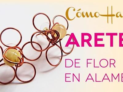 Aretes de Flor en Alambre - DIY Joyería