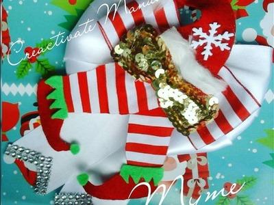 CHRISTMAS BOW.MOÑO NAVIDEÑO FACIL. MOÑO LENTEJUELA.PIES DE ELFO.Creactivate Manualidades