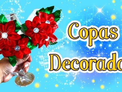 Copa decorada con Flores de tela para Navidad DIY Copas Navideñas