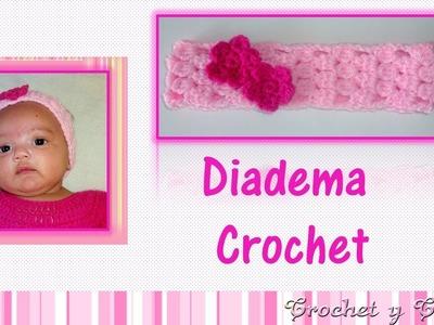 Diadema – Cintillo con flores tejida a crochet (ganchillo)