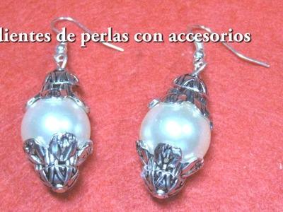 #DIY - aretes facilisimos  de perlas con accesorios  #DIY - pearl earrings with accessories