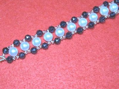 #DIY - Brazalete de perlas con bolitas azules #DIY - Bead Bracelet with Blue Beads