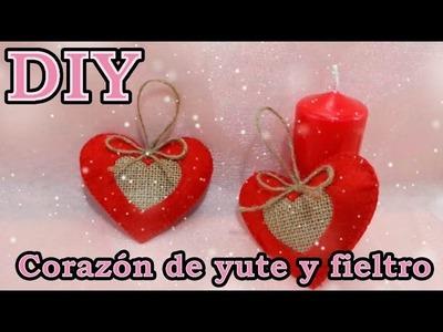 DIY Como hacer unos adornos de corazón para árbol de Navidad  yute y fieltro J&R