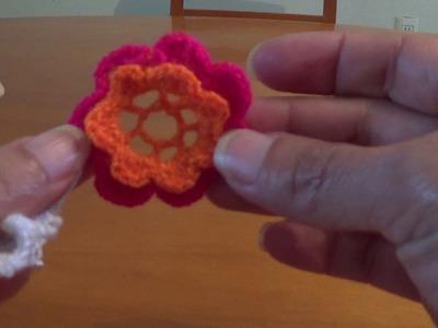 Flor para saco con flores No.4 crochet o ganchillo