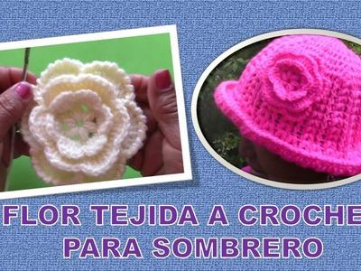 Flor tejida a crochet paso a paso para Sombrero fácil de hacer