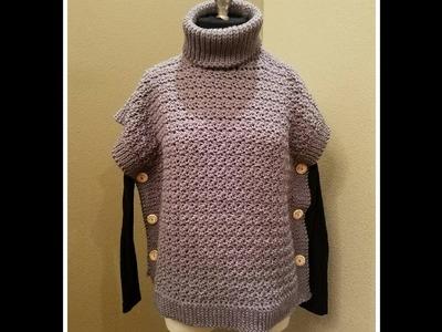 Poncho a crochet con cuello de tortuga